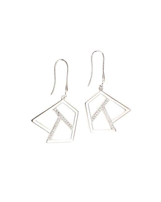 Ona Chan Jewelry   Metallic Drop Earring With Sapphire Silver   Lyst