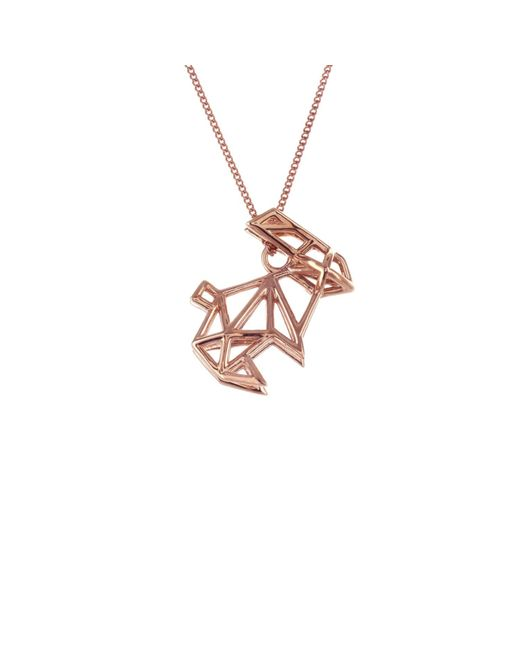 Origami Jewellery - Metallic Sterling Silver & Pink Gold Frame Rabbit Origami Necklace - Lyst