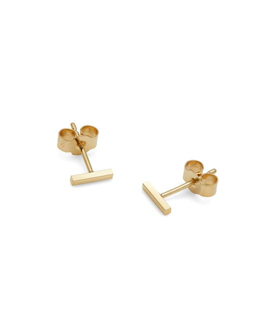 Myia Bonner - Metallic Gold Mini Bar Stud Earrings - Lyst