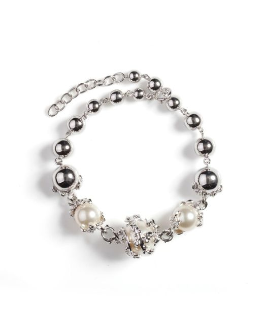 Kasun - Metallic Orb & 3 Ivory Pearl Bracelet - Lyst