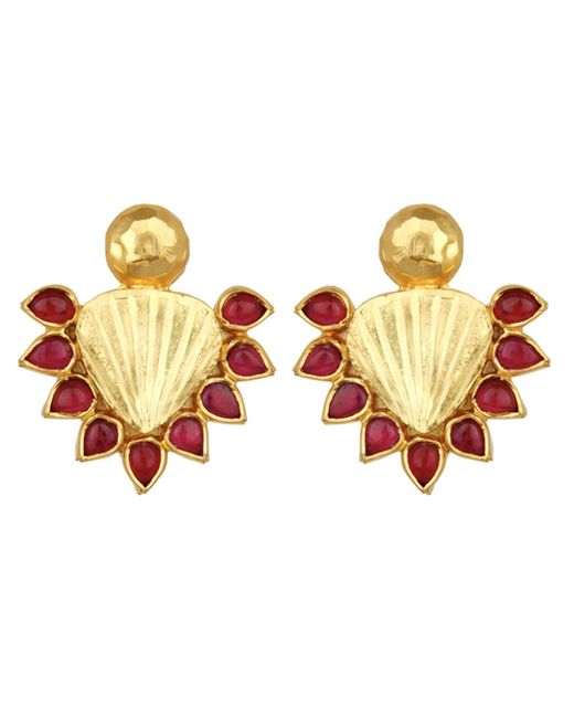 Carousel Jewels - Metallic Red & Gold Statement Earrings - Lyst