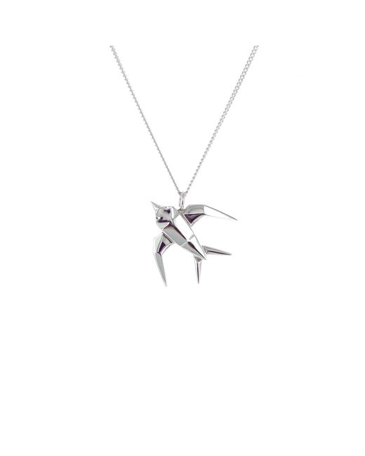 Origami Jewellery - Metallic Sterling Silver Mini Swallow Origami Necklace - Lyst