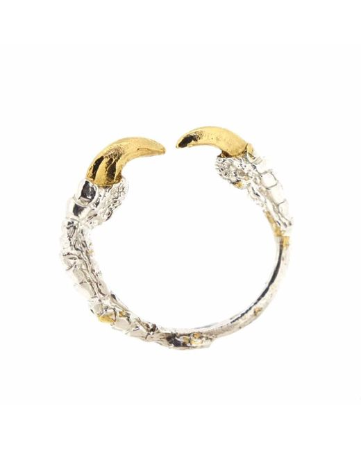 Tessa Metcalfe | Metallic Single Claw Ring With Gold Nails Silver | Lyst