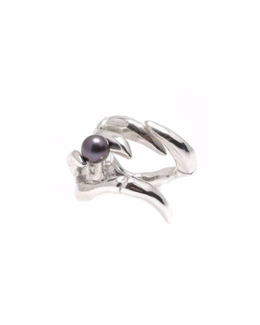 Kim Keohane - Metallic Large Silver Claw Ring With Black Pearl - Lyst