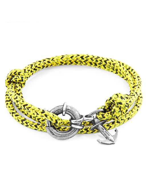 Anchor & Crew - Multicolor Yellow Noir Clyde Rope & Silver Bracelet for Men - Lyst