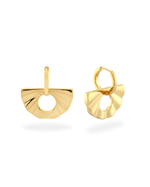 Monarc Jewellery - Metallic Fan Huggie Hoops Gold Vermeil - Lyst