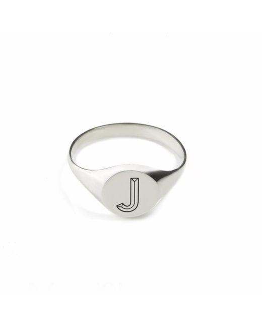 Myia Bonner | Metallic Silver J Facett Initial Signet Ring | Lyst