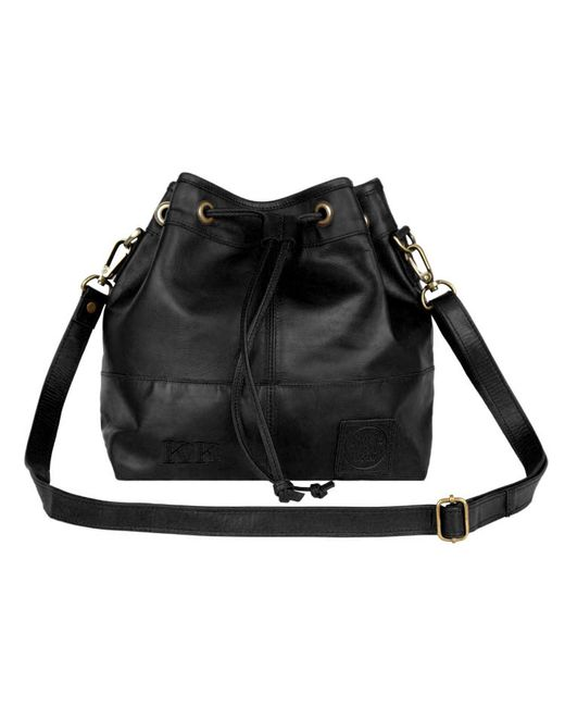 Mahi Leather Classic Bucket Drawstring Bag In Black ...
