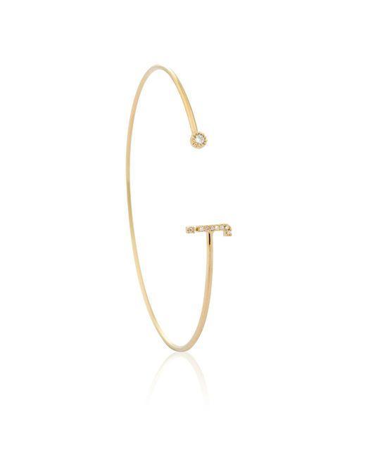 Astrid & Miyu - Metallic Gold Initial J Bangle - Lyst