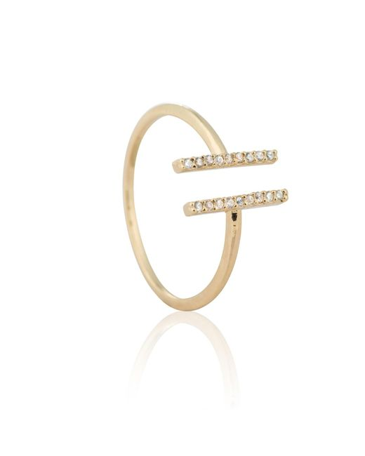 Astrid & Miyu - Metallic Chase Me Double Bar Ring In Gold - Lyst
