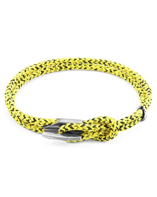 Anchor & Crew - Multicolor Yellow Noir Padstow Silver & Rope Bracelet for Men - Lyst