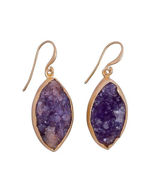 Magpie Rose | Purple Raw Druzy Earrings | Lyst