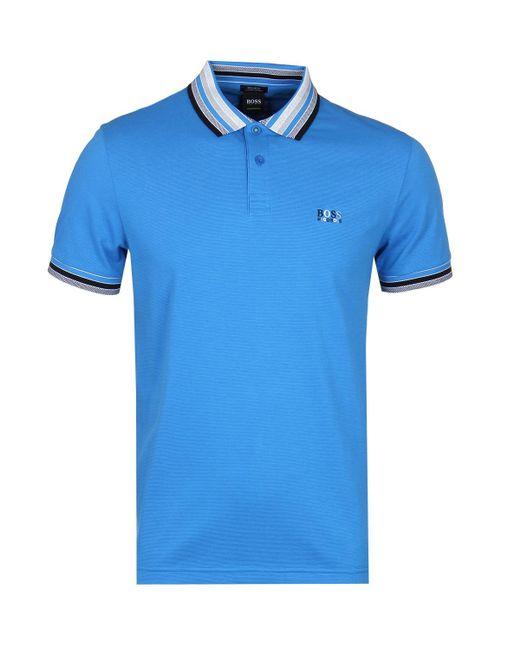 BOSS Green - Paddy1 Blue Pique Polo Shirt for Men - Lyst