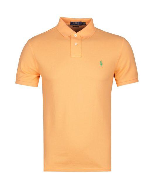 4cf51230 Polo Ralph Lauren - Slim Fit Orange Pastel Polo Shirt for Men - Lyst ...
