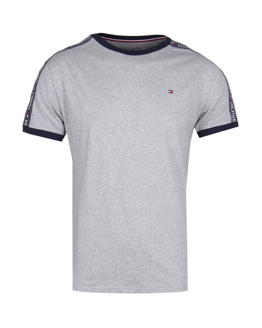 2175c609e Tommy Hilfiger - Gray Grey Taping Crew Neck T-shirt for Men - Lyst ...