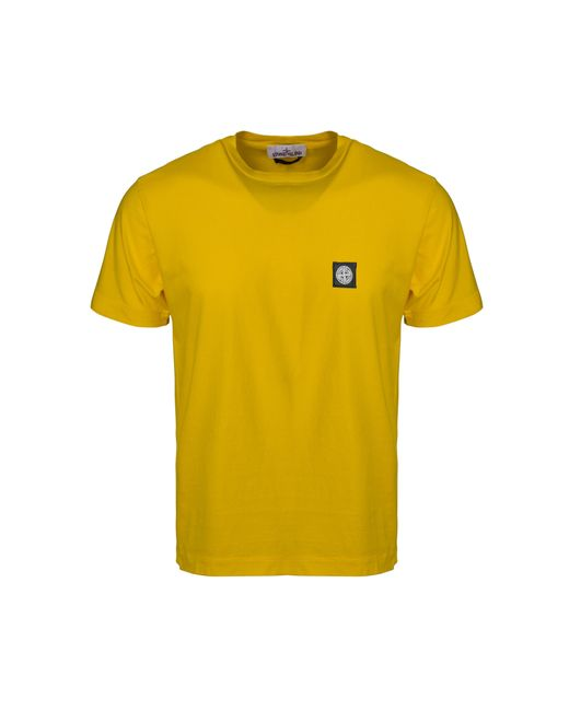 Stone Island - Yellow Patch Logo T-shirt for Men - Lyst