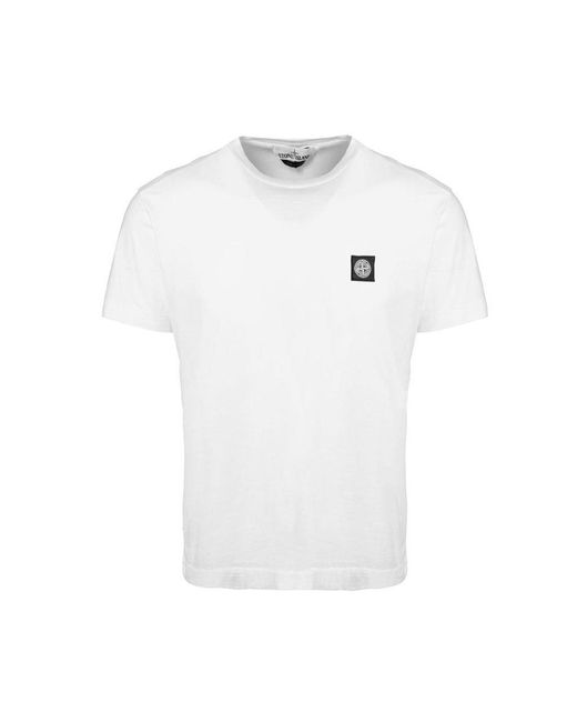 Stone Island - White Patch Logo T-shirt for Men - Lyst