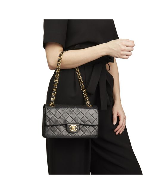 229a393d6258 ... Chanel - Black Quilted Lambskin Vintage Small Classic Double Flap Bag -  Lyst ...