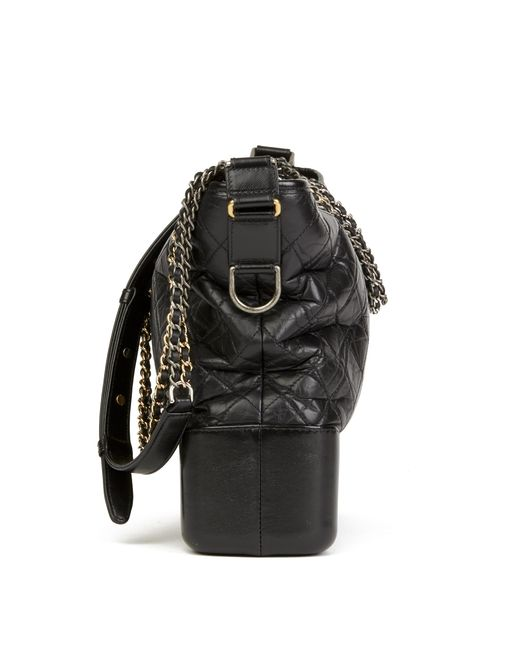 f784d2097bc4 ... Chanel - Black Quilted Aged Calfskin Leather Large Gabrielle Hobo Bag -  Lyst ...