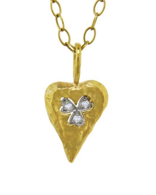 Cathy Waterman - Metallic Floating Clover Heart Charm - Lyst