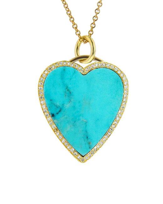 Jennifer Meyer - Blue Diamond Turquoise Inlay Heart Pendant Necklace - Lyst