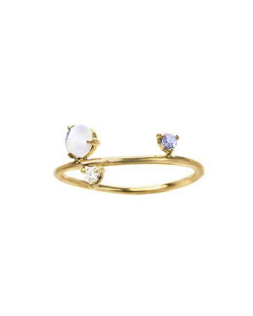 Wwake - Multicolor Moonstone, Sapphire And Diamond Balloon Ring - Lyst