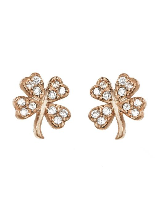 Jennifer Meyer - Metallic Mini Diamond Clover Stud Earrings - Lyst