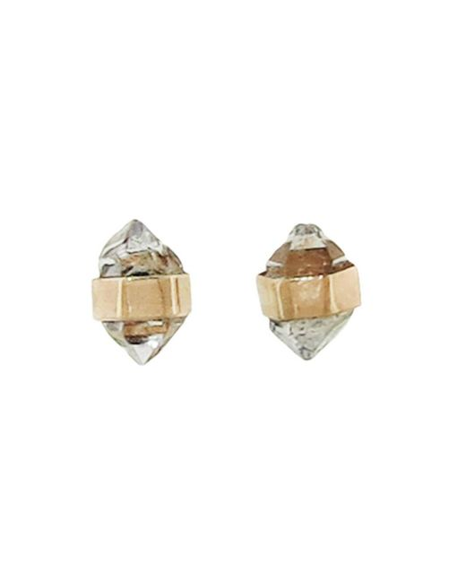 Melissa Joy Manning - Metallic Gold Herkimer Diamond Stud Earrings - Lyst