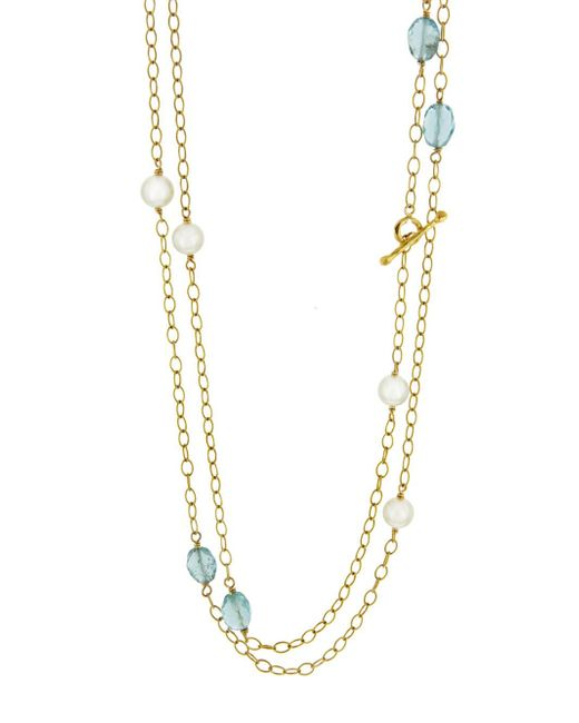 Cathy Waterman - Multicolor Apatite And Pearl Wire Wrap Necklace - Lyst