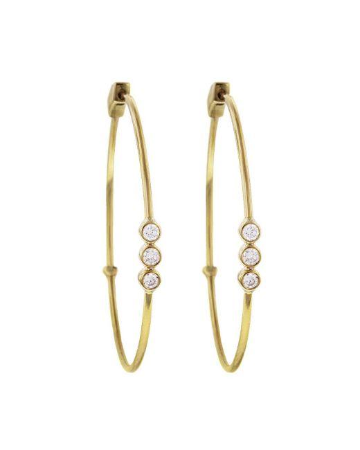 Jennifer Meyer - Metallic Bezel Diamond Trio Click Hoop Earrings - Lyst