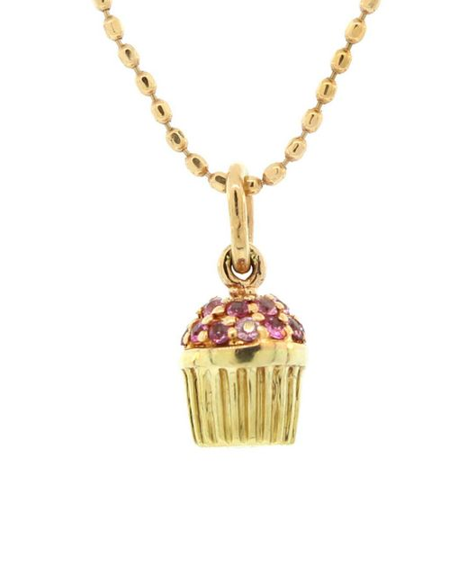 Sydney Evan - Multicolor Tiny Pink Sapphire Cupcake Necklace - Lyst