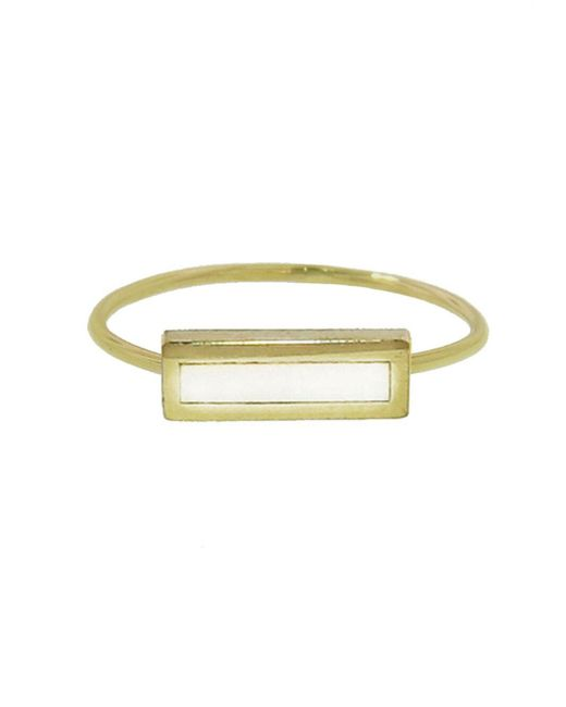 Jennifer Meyer - Multicolor Mother Of Pearl Inlay Bar Ring - Lyst