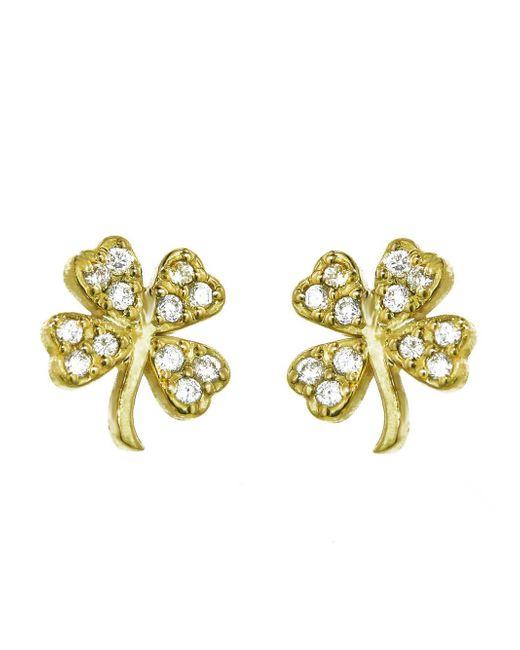 Jennifer Meyer - Metallic Mini Diamond Four-leaf Clover Stud Earrings - Lyst