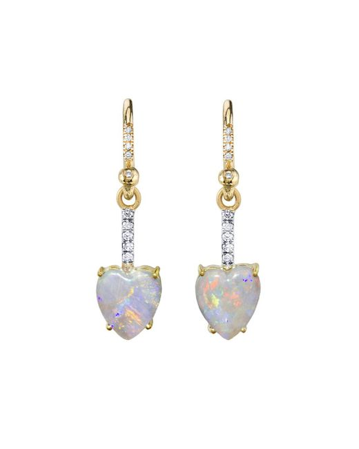 Irene Neuwirth - Metallic 2.06 Carat Opal And Diamond Heart Earrings - Lyst