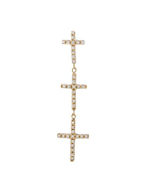 Jacquie Aiche - Metallic Diamond Graduated Triple Cross Stud Single Earring - Lyst