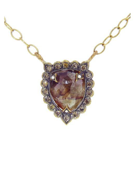 Cathy Waterman - Metallic Rustic Diamond Shield Necklace - Lyst