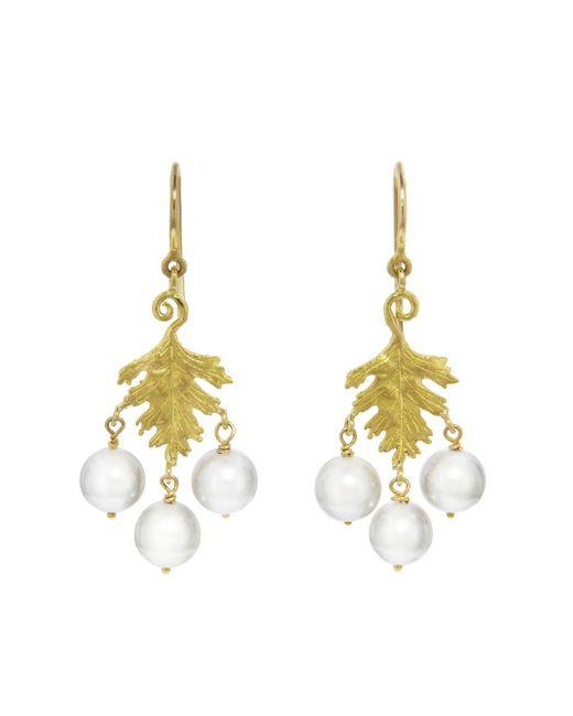 Cathy Waterman - Metallic Pearl Leaf Earrings - Lyst