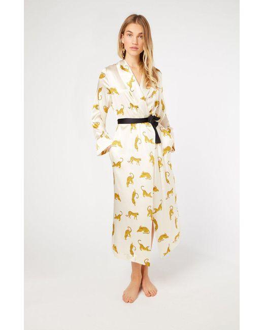 c1467bd553 Yolke - White Prowling Leopard Silk Dressing Gown - Lyst ...