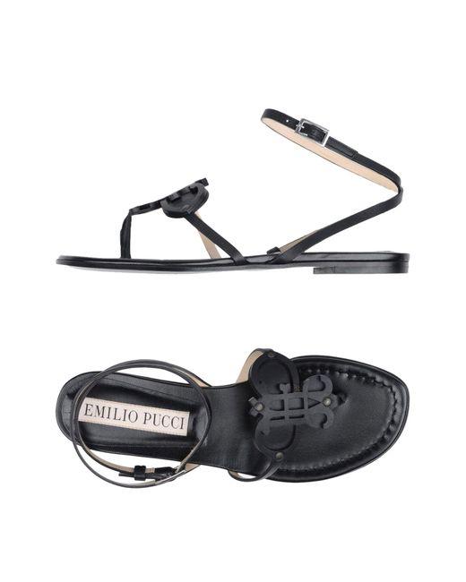 Emilio Pucci - Black Toe Strap Sandal - Lyst