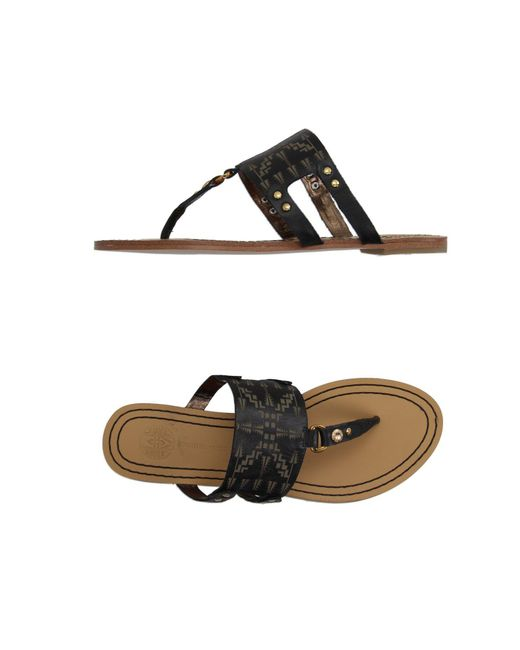 Cynthia Vincent - Black Toe Strap Sandals - Lyst