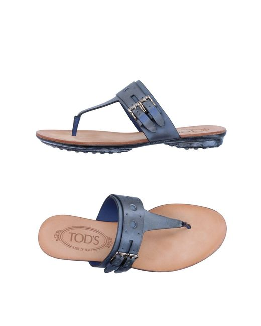 Tod's | Gray Toe Strap Sandal | Lyst