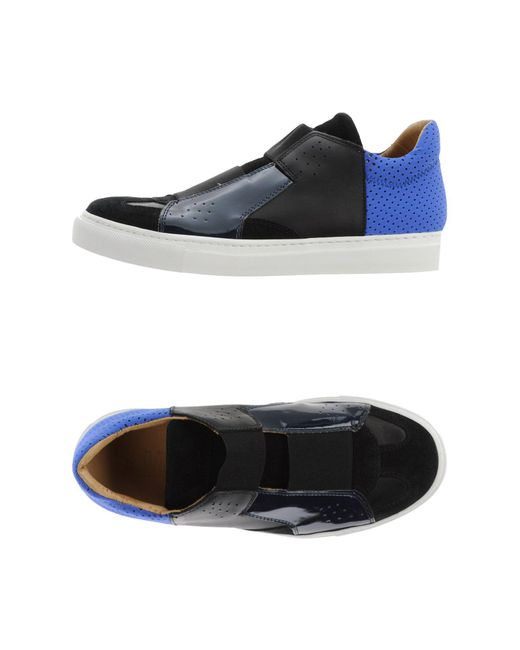 MM6 by Maison Martin Margiela - Black Color-Blocked Leather Low-Top Sneakers - Lyst