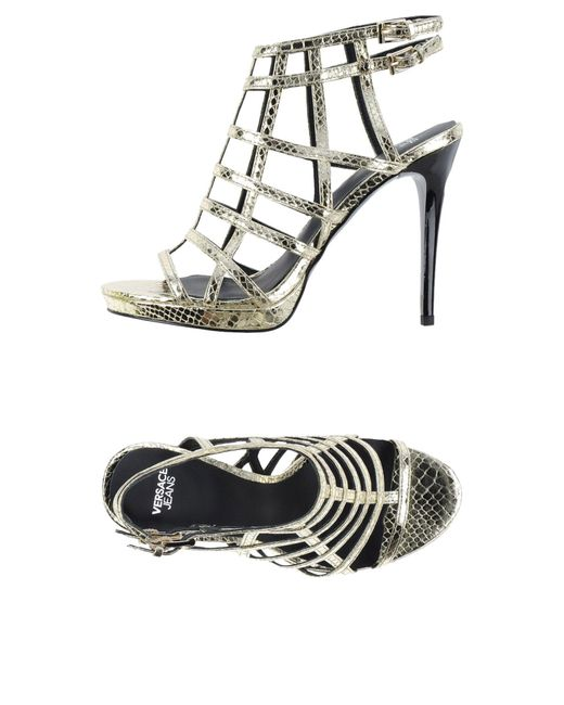 Versace Jeans - Metallic Sandals - Lyst