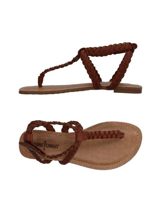 Minnetonka - Brown Toe Strap Sandals - Lyst