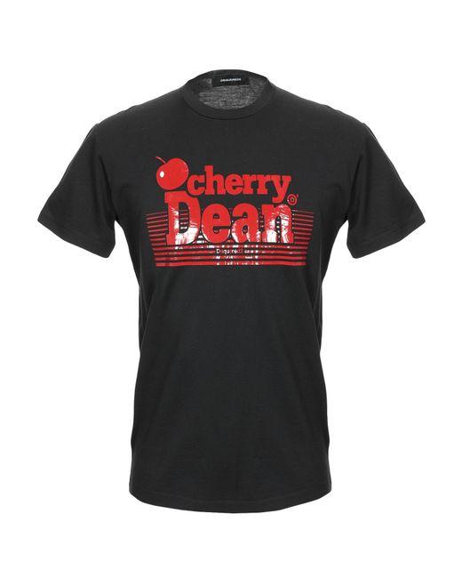 "DSquared² - Black T-Shirt mit ""Cherry Dean""-Print for Men - Lyst"