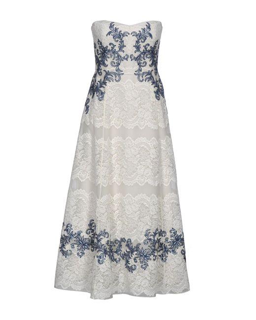 Marchesa notte - White 3/4 Length Dress - Lyst