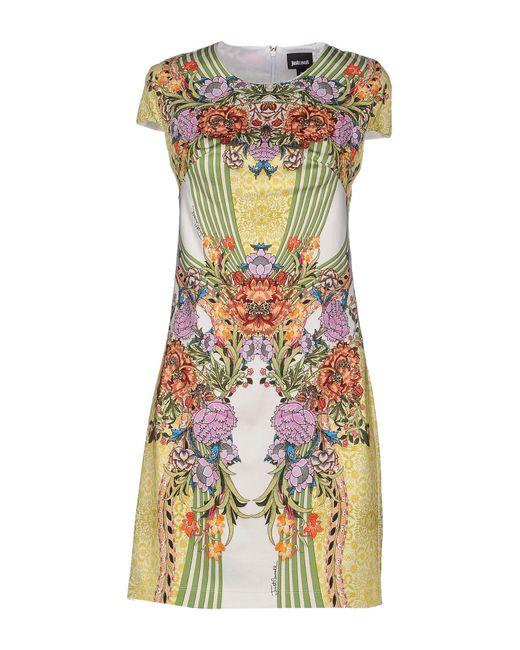 Just Cavalli | Yellow Short Dress | Lyst