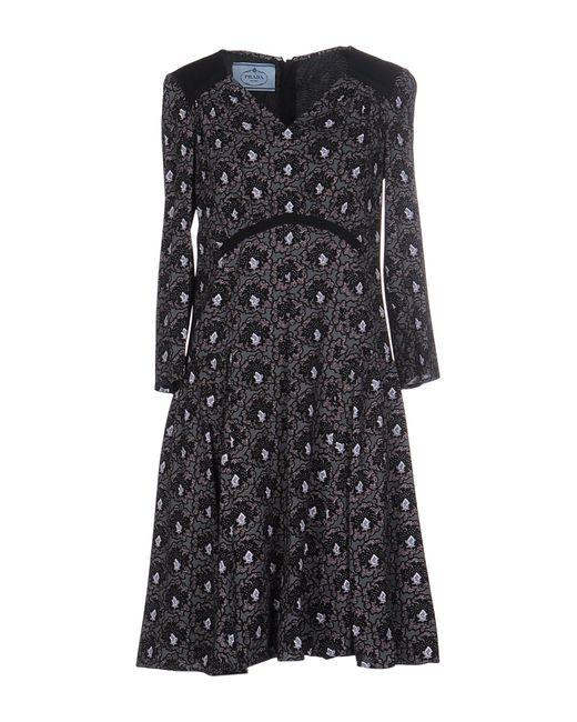 Prada   Gray Short Dress   Lyst
