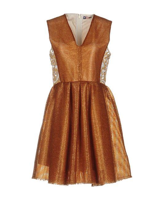 MSGM | Brown Short Dress | Lyst