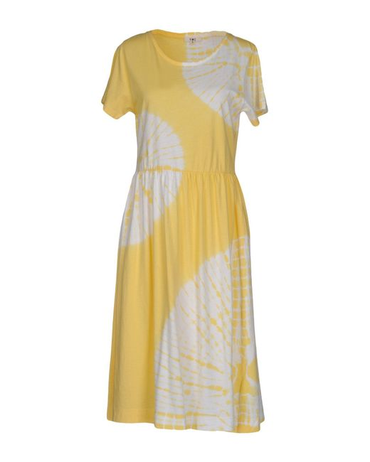 YMC   Yellow Knee-length Dress   Lyst